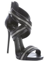 Giuseppe Zanotti Black Leather Zip Detail Heel Sandals - Lyst
