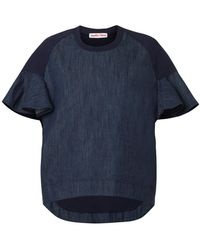 See By Chloé Jersey and Chambray Top - Lyst