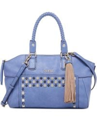 Guess Check Mix Uptown Satchel - Lyst