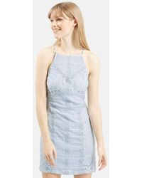 Topshop Strappy Lace Dress blue - Lyst