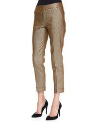 Etro Stretch Metallic Herringbone Cuffed Pants - Lyst