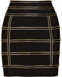 Balmain Embellished Stretch Knit Skirt - Lyst