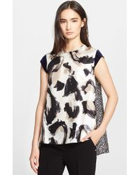 Max Mara Women'S 'Bosforo' Mix Print Silk & Twill Top - Lyst
