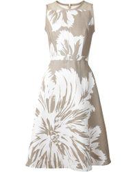 Carolina Herrera Floral-Print Linen Dress - Lyst