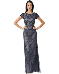 Adrianna Papell Geo Beaded Gown - Lyst