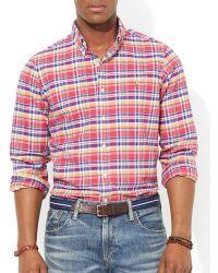 Ralph Lauren Polo Checked Poplin Shirt  Slim Fit - Lyst
