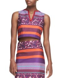 Suno Brushed Berries-Print Cropped Shell With Piped-Neck - Lyst