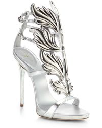 Giuseppe Zanotti Metallic Leather Winged Sandals - Lyst