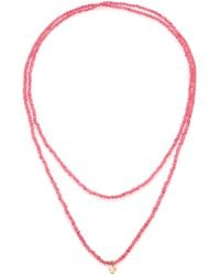 LJ Cross - Pink Muscovite & 14k Rose Gold Beaded Cross Pendant Necklace - Lyst