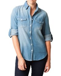 Bungalow 20 | Long Sleeve Distressed Denim Shirt | Lyst