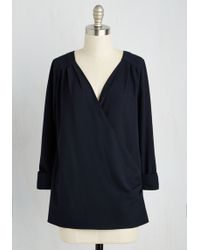 ModCloth | Elegant Epiphany Top In Navy | Lyst