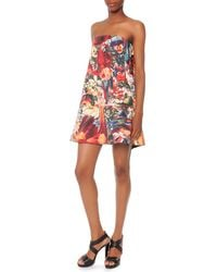 Just Cavalli Strapless Printed Wave-Back Dress - Lyst