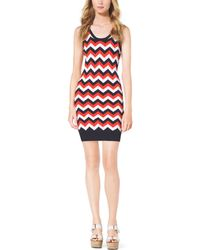 Michael Kors Fine-Knit Chevron Dress - Lyst