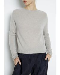 Inhabit Whisper Weight Circular Yoke Button Back Pullover gray - Lyst
