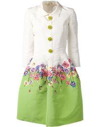 Oscar de la Renta Flower Embroidered Dress - Lyst