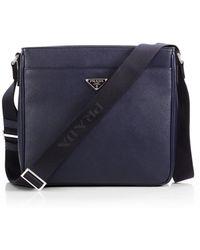 prada blue and white bag - Prada Single-clip Messenger Bag in Black for Men | Lyst
