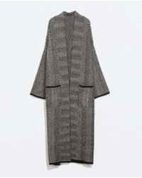 Zara Herringbone Knit Coat - Lyst