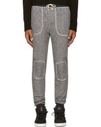Band Of Outsiders Dark Navy Striped Knit Lounge Pants - Lyst