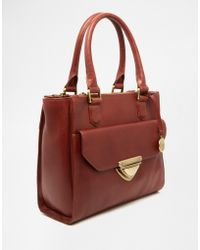 Ri2k - Leather Handheld Tote With Optional Shoulder Strap - Lyst
