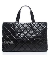 Chanel Pre-owned Black Glazed Calfskin Boy Tote Bag - Lyst