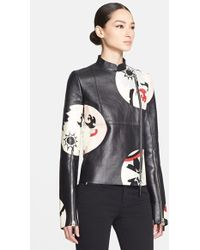 Alexander McQueen Women'S Circle Print Leather Jacket - Lyst