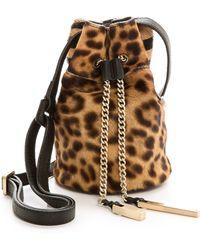 Halston Heritage Mini Haircalf Bucket Bag - Black Multi - Lyst