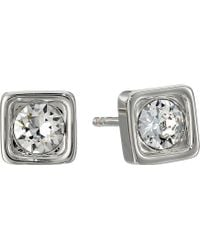 Coach Pave Square Stud Earrings - Lyst