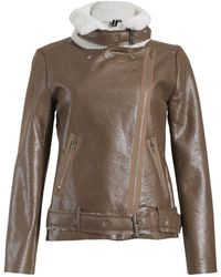 Izabel London - Fleece Lined Aviator Jacket - Lyst