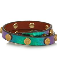 Tory Burch - Studded Holographic Leather Wrap Bracelet - Lyst