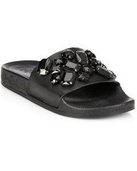 Loeffler Randall Cat Jeweled Leather Slides black - Lyst