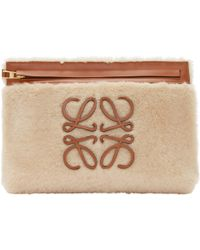 Loewe - Tan Leather And Shearling Pouch - Lyst