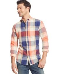 Tommy Hilfiger Red Sand Plaid Custom-Fit Shirt - Lyst