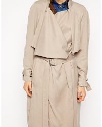 Asos Trench With Soft Waterfall Drape - Lyst