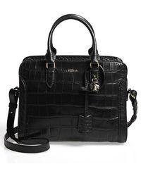 Alexander McQueen 'Small Padlock' Croc-Embossed Leather Duffel Bag - Lyst