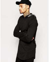 ASOS | Longline Long Sleeve T-shirt With Printed Hood | Lyst