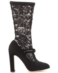 Dolce & Gabbana Suede and Lace Boots - Lyst