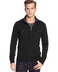 Calvin Klein Solid Full-zip Sweater - Lyst