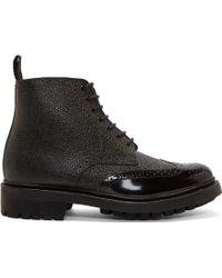 Grenson Black Leather Brogue Sharp Boots - Lyst