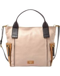 Fossil Emerson Leather Colorblock Satchel - Lyst