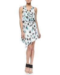 Haute Hippie Printed Cowl-Neck Silk Dress - Lyst