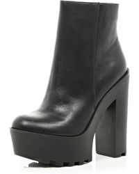River Island Black Leather Cleated Sole Ankle Boots - Lyst