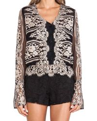Anna Sui Two Tone Eyelash Lace Top - Lyst