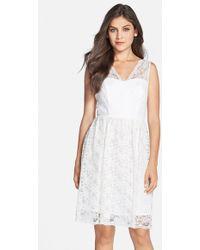 Marina Lace V-Neck Fit & Flare Dress white - Lyst