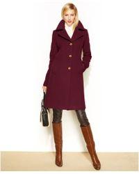 Anne Klein Wool Cashmere Blend Notched Collar Walker Coat - Lyst