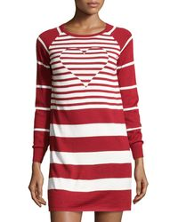 Love Moschino Knit Heart Inset Striped Dress - Lyst