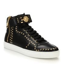 Versace | Studded Logo High-top Sneakers | Lyst