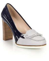 Tod's Two-Tone Leather & Patent Leather Loafer Pumps blue - Lyst
