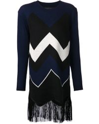 Timo Weiland Chevron Fringe Sweater Top - Lyst