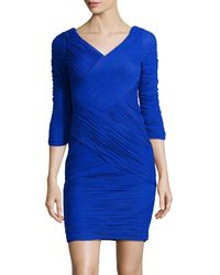 Sue Wong 3/4sleeve Ruched Mesh Dress - Lyst