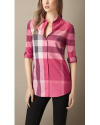 Burberry Checked Cotton Shirt pink - Lyst